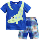 New Baby Children Kid Boy Blue Tops+Shorts 2PC set Outfit Clothing