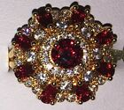 Beautiful 9kt Yellow Gold Plated Deep Red Round Set Crystal Tiered Cocktail Ring