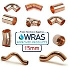 15mm End Feed Fittings Copper Plumbing Straight Coupling Stop End Elbow Tee