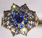 9kt Yellow Gold Plated Embossed Cut Out Tiered Blue Crystal Cocktail Ring