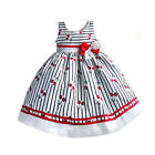 White Red Summer Dress Cherry & Striped Print Cotton Sleeveless Knee-Length 3-8Y