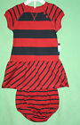 Nautica Dress Red Blue Striped with diaper cover or Panties New Sailboat Logo