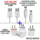 Original OEM Apple iPhone Charger Cord, 3ft, 6ft, Wall Plugs Lightning Cable LOT