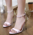 bride shoes - Womens Pumps Ankle Strap Butterfly Open Toe High Heels Sandals Bride Party Shoes