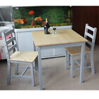 PananaWooden Dining Table and 2 Chairs Set Contemporary White/Grey/Natural Pine