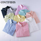 Women Blouse New Casual Long Sleeved Oxford Solid Office Button down Shirts