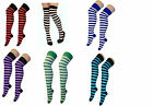 Womens Stripe Over The Knee Socks Thigh High Girls Stretchy Socks Fancy Dress