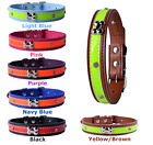 Hi Vision Dog Collars PU Leather Pet Puppy Reflective Colourful Black Brown Red