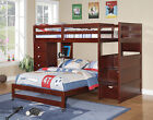 Wood Stairway Bunk Bed w/ Built-in Step Storage, 4 Drawer Chest - Cappuccino