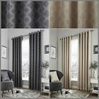 Dale Lined Eyelet Curtains Geometric Moroccan Pattern Ready Made Pair Ring Top