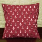AL264a Pale Beige Dark Red Anchor Cotton Canvas Pillow/Cushion Cover Custom Size