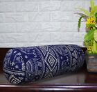 AL257g Royal Blue Beige Elephant Cotton Canvas Bolster Cover Nect Roll Yoga Case