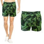 Brave Soul Mens Daintree Designer Tropical Leaf Print Beach Trunks Swim Shorts