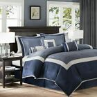 Luxury 7pc Navy Blue & Silver  Geometric Comforter Set AND Decorative Pillows
