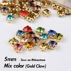 144pcs 5mm 10 colors crystal Sew on Rhinestone strass withgold claw rhinestones