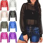 Womens Ladies Full Mesh Net See Through Long Sleeve Oversized All Over Crop Top