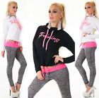 New Women's 2 Piece Tracksuit Sweater Jogging Polo Neck Gym Fitness Suit 8,10,12