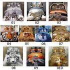1 3D Animal Tiger Lion Wolf Queen King Size Bed Quilt/Duvet Sheet Cover Set