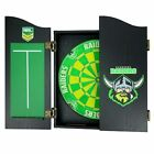 49660 CANBERRA RAIDERS NRL BRISTLE DARTBOARD & WOODEN CABINET + SET OF 3 DARTS