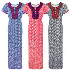 LADIES 100% COTTON LONG NIGHTDRESS NIGHTY CHEMISE EMBROIDERY DETAILED SIZE 14-22