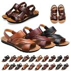 2017 Mens Leather Flat Open-toed Sandals Casual Beach Sports Slipper Shoes Best