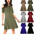 Womens Ladies Front Eyelet Lace Cold Cut Out Shoulder Marl Knit Swing Mini Dress