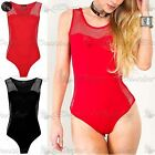 Womens Ladies Sleeveless Side Fishnet Panel Stretchy Party Leotard Bodysuit Top