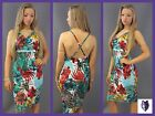 REDUCED**Strappy Backless Tropical Print Midi Bodycon Holiday Dress 8 10 12 14