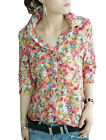 Women Point Collar 3/4 Sleeve Single Breasted Floral Prints Shirt