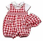 Baby girls check romper and bandana set by 'watch me grow ' 0/3-3/6-6/9 m