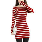 Women Off Shoulder Long Sleeve Casual Knit Dress