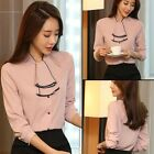 Women Bow Elegant Casual Chiffon Blouse Career OL Shirt Tops Excellent Quality