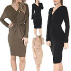 Ladies Womens Stretchy V-Neck Draped Ruched Front Knot Tunic Bodycon Mini Dress