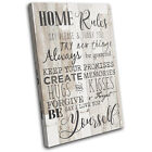 House Rules Shabby Chic Typography SINGLE CANVAS WALL ART Picture Print