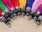 "10 Colour 6"" (16cm) Length w/Black Pendant Fashion Craft Long Tassel Fringe (A9)"
