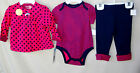 OFFSPRING 100 COTTON 3 pc Dark Pink  Navy Jacket and Pant Set SIZE 6 Month NWT