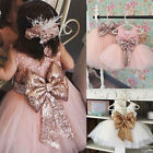 Kids Baby Flower Girls Bow Sequins Tulle Tutu Dress Princess Party Wedding Gown