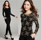 Womens Long Sleeve Embroidery Lace Crochet Tops Lace Shirt Blouse Sumptuous