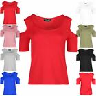 Womens Ladies Cold Cut Out Shoulder Plain Short Sleeve Jersey Tee Shirt Top 8-14