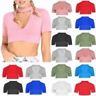 Womens Choker Neck Keyhole Cut Out Ladies Cropped Short Sleeve Crop Top UK 8-14