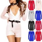 Womens Wrap Over Mini Romper Playsuit Ladies V Neck Long Sleeve Shorts Jumpsuit