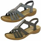 Ladies Rieker 608S1 Slip On Elasticated Strap Sandals