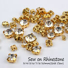 Sew on Rhinestones Gold claw SS12 SS16 SS25 SS30 SS35 SS40 SS50 144pcs use for