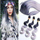 Fashion 3bundles omber tone black/gray body wavy extensions weave weft hair 210g