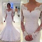 Sexy Lace Appliques Mermaid White/ivory Wedding Dress Long Sleeve Brides Gown