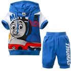 Boys Summer Set Thomas Cotton Short Sleeve Shirt+ Pants Blue Cartoon Size 2T-7