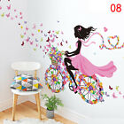 Removable Flower Girl Bicycle Vinyl Decal Butterfly Wall Sticker Home Decor HT