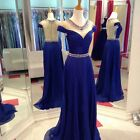 New  Royal Blue Evening Dresses Chiffon Backless Formal Gowns Prom Party Dresses