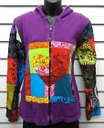 GRINGO FAIR TRADE PURPLE DISTRESSED COTTON HOODED JACKET LINED APPLIQUE DESIGN