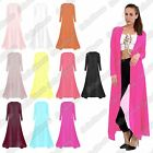 New Ladies Full Chiffon Open Front Mesh See Through Floaty Flare Maxi Cardigan